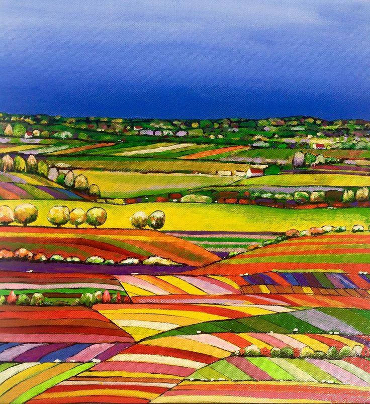 """""""QUILTED LANDSCAPE 06"""" by LOUISE GROVE WIECHERS. Paintings for Sale. Bluethumb - Online Art Gallery"""