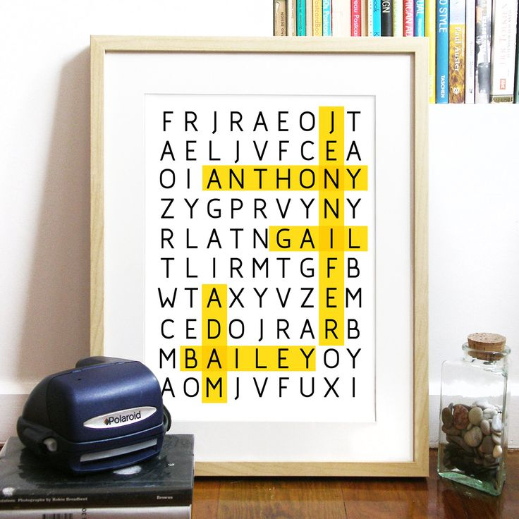 WORD PUZZLE Poster for Family or Friends Great gift Print Typography Art Poster in White - A3 Poster art print - custom Poster personalized. $25.00, via Etsy.