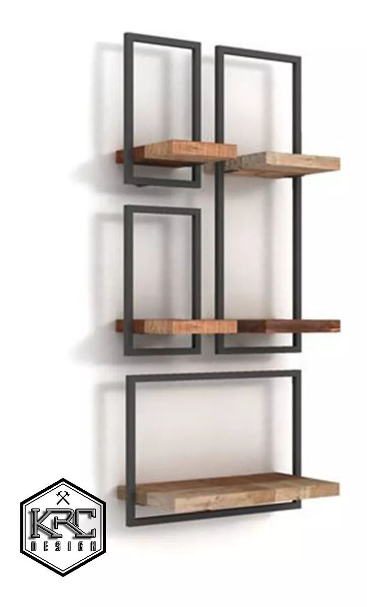 Floating Shelf Tetris X 4 Industrial Wood Grass …