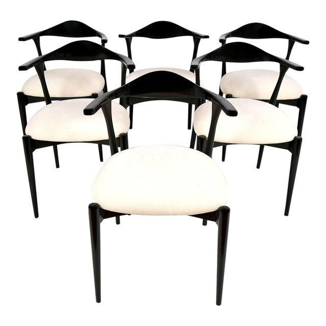 Image of White & Black Scandinavian Dining Chairs - Set of 6