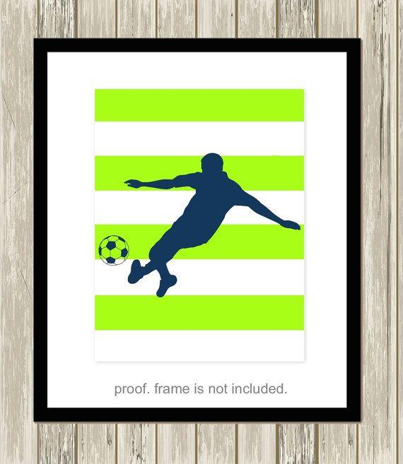 Soccer player soccer boy wall art boys art by PicabooArtStudio