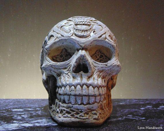 Cement Celtic Skull by LoveHandyWork on Etsy