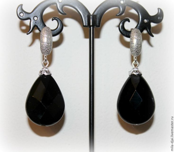 """Купить Серьги """"Черные капли"""" СКИДКА 20% - капля, натуральные камни, подарок на любой случай"""