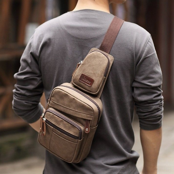 Wonderful Men's Brown Canvas Messenger Shoulder Hiking Fanny Pack Bag Backpack   eBay