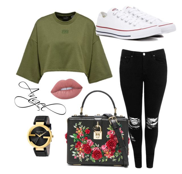 #Yes🦄 by❤️Angel1324❤️ on Polyvore featuring polyvore, fashion, style, Boohoo, Converse, Dolce&Gabbana, Gucci, Lime Crime and clothing