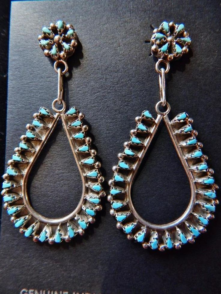 Native American Zuni Petit Point Turquoise Tear Drop Earrings by Tricia Leekity $141.75