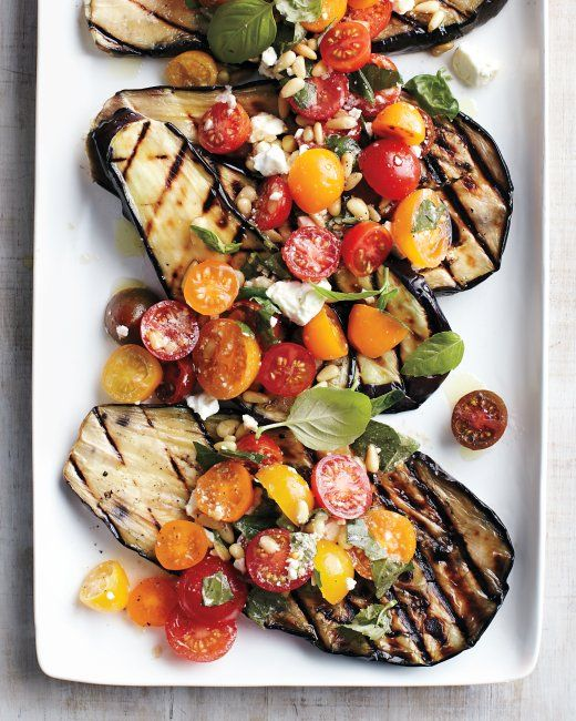 Yummy summer meal | Grilled eggplant with tomatoes, basil, and feta. #splendideats