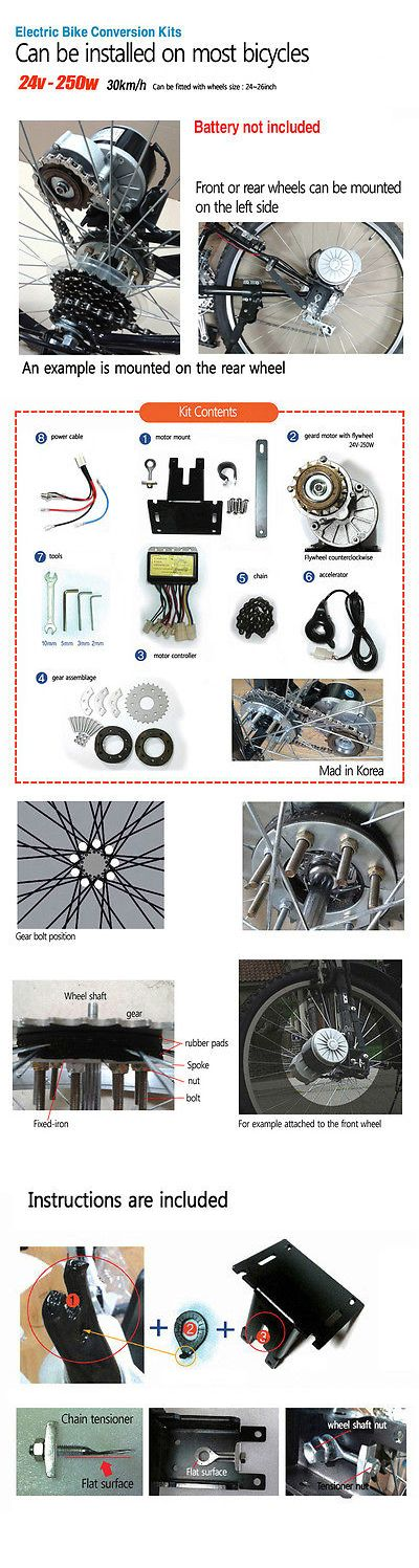 Electric Bicycle Components 177814: Ebike Kit Motor Bike Conversion Kit All Most Bicycles Electric Bicycle -> BUY IT NOW ONLY: $150 on eBay!