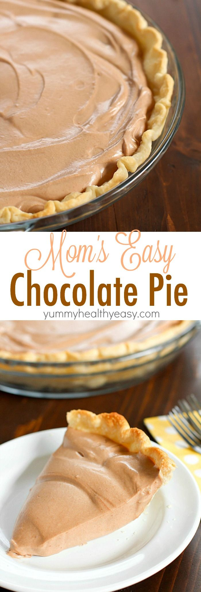 An incredibly Easy Chocolate Pie recipe that my Mom makes every Thanksgiving as a tradition. This is so simple and uses no pudding. This is a family favorite chocolate pie! A must for your holiday dessert table!