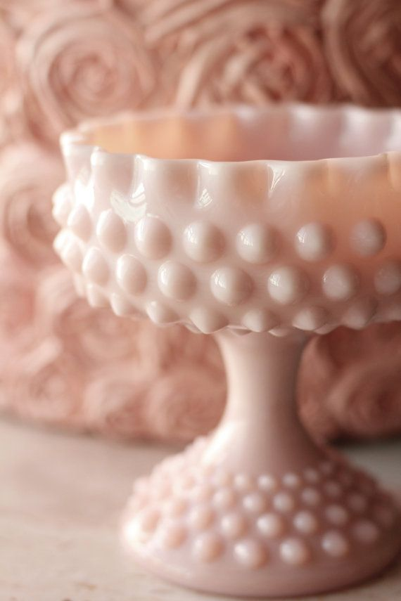 Pink Milk Glass Compote / Hobnail Candy Dish by RocheStudioVintage