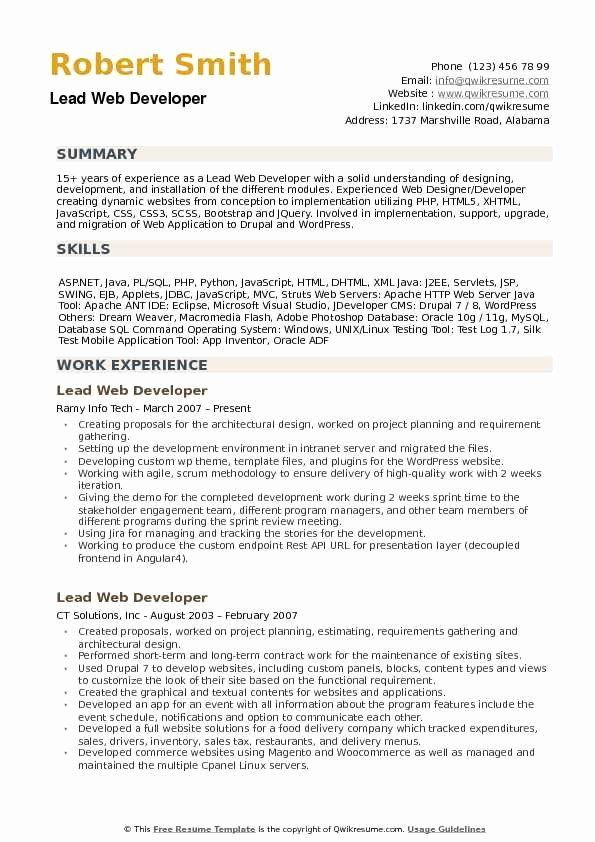 Web Developer Resume Template Inspirational Lead Web Developer Resume Samples Web Developer Resume Web Development Web Designer Resume