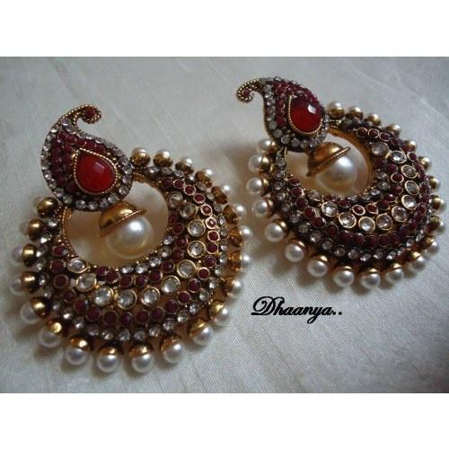 kundan earrings desi girl pinterest earrings