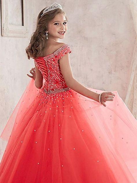 049ba8b6468 Ball Gown Off-the-Shoulder Sleeveless Beading Floor-Length Tulle Flower  Girl Dresses