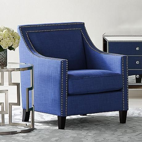 flynn navy blue upholstered armchair the flynn accent chair