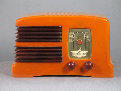 old orange bakelite radio