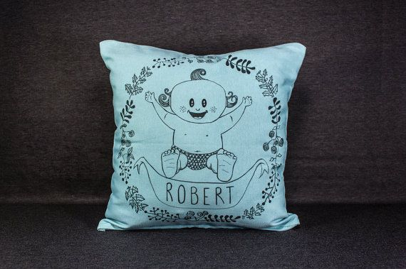 16 by 16 Hand-drawn Custom Pillow for Babies  by detcraft on Etsy