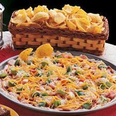 """Pizza by the Scoop - """"This tasty cold snack dip is one of my most-requested recipes and always pleases friends at get-togethers,"""" relates Georgene Robertson of Pikeville, Kentucky. """"People keep scooping until the platter is clean."""""""
