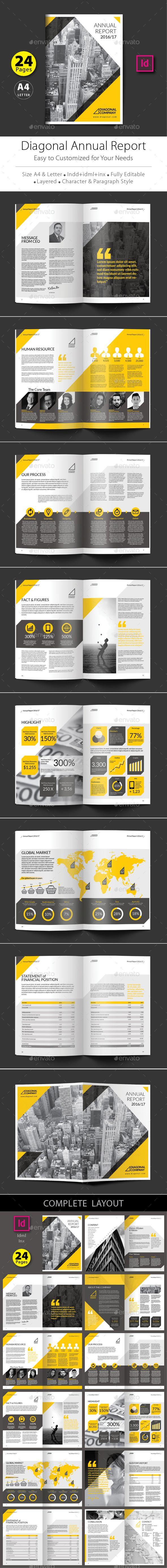 A4 24 Pages Diagonal Annual Report Design Template PSD. Download here: http://graphicriver.net/item/diagonal-annual-report-design-template/15904860?ref=ksioks