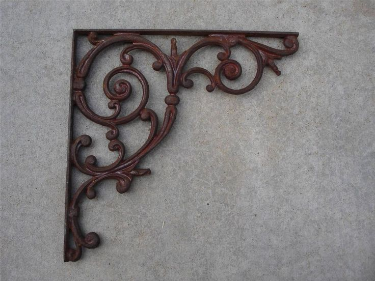 "1 Large 16"" Antique Cast Iron Mailbox Bracket Vtg Swirls"
