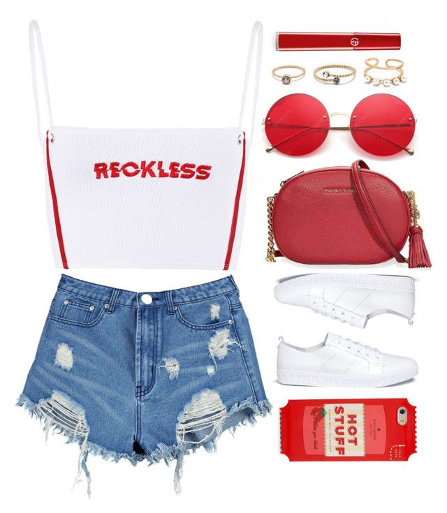 """Reckless"" by monmondefou ❤ liked on Polyvore featuring LULUS, Opening Ceremony, Boohoo, Michael Kors, Giorgio Armani, Kate Spade, white and red"