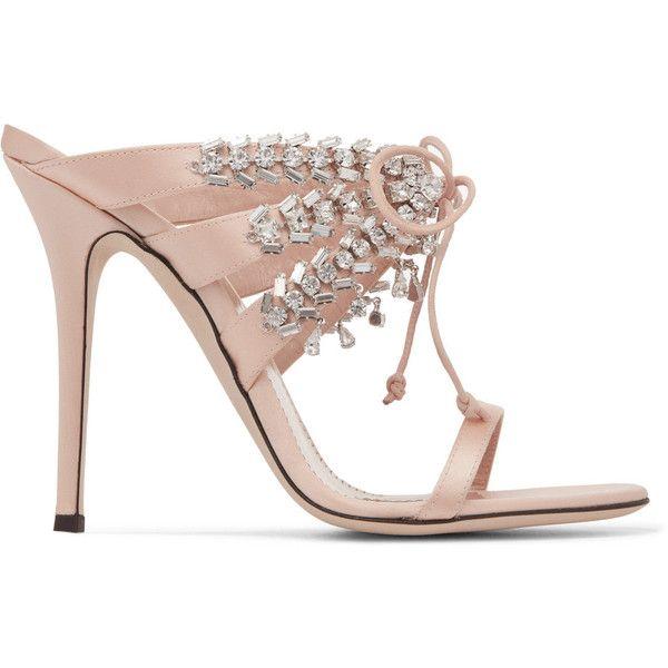 Giuseppe ZanottiMadelyn Crystal-embellished Satin Mules (€1.075) ❤ liked on Polyvore featuring shoes, blush, dangling shoes, mule shoes, satin mules, caged shoes and giuseppe zanotti
