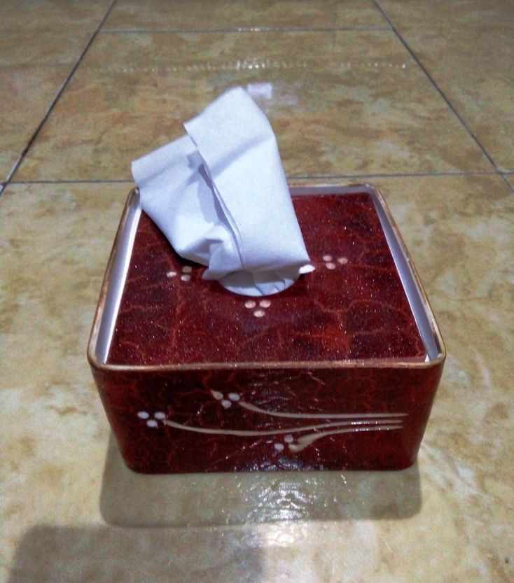 Kotak Tisue Kecil Paralon Bakar dengan bahan PVC