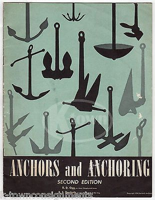 ANCHORS & ANCHORING VINTAGE GRAPHIC ILLUSTRATED FISHING BOAT SALES CATALOG 1956
