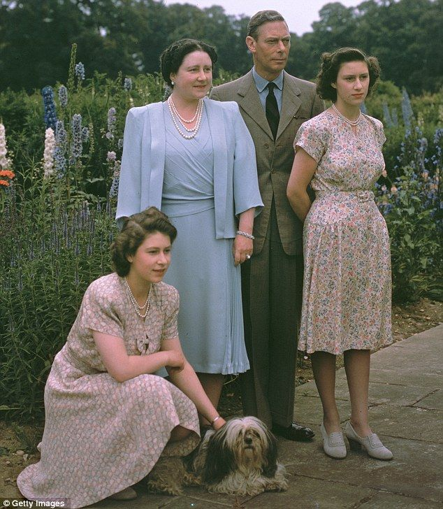 King George VI with Princess Elizabeth, Queen Elizabeth and Princess Margaret, at Windsor Castle July 8, 1946