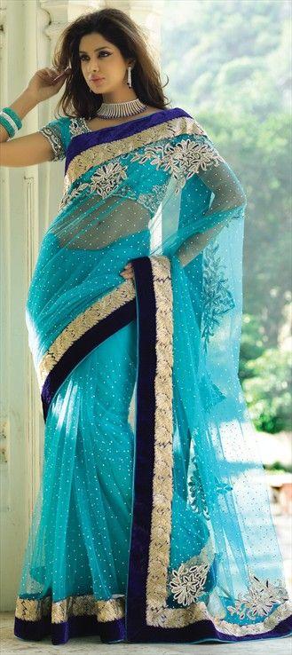 107013, Party Wear Sarees, Embroidered Sarees, Bridal Wedding Sarees, Net, Zari, Stone, Blue Color Family