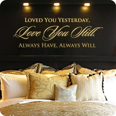 Love this.Decor Ideas, Sayings Over The Bed, Wall Decals, Wall Quotes, Master Bedrooms, House, Bedrooms Wall, Dark Wall, Black Wall
