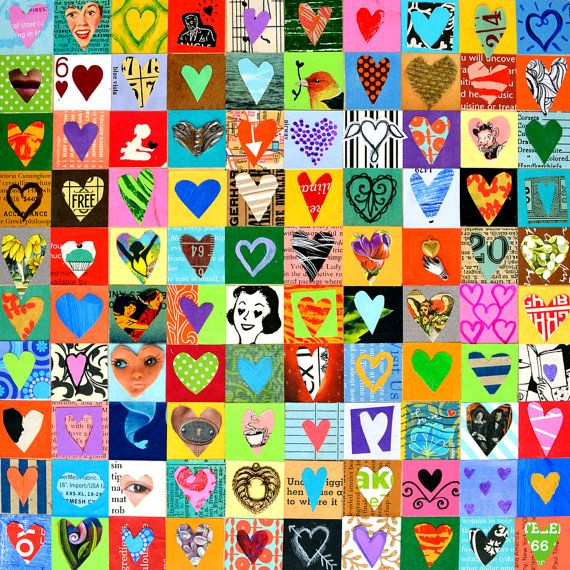 100 HEARTS love art mixed media hearts door ElizabethRosenArt