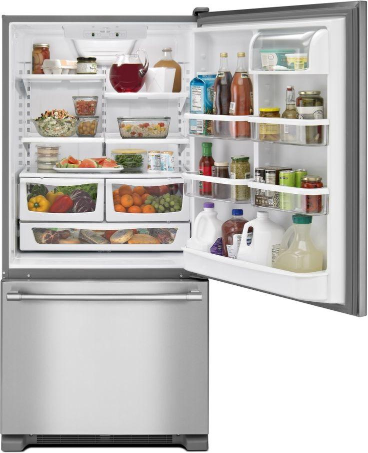 Maytag MBF1958FEZ 30 Inch Bottom-Freezer Refrigerator with 19.0 cu. ft…