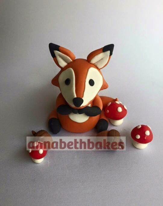 Woodlands theme fox with mushrooms and acorn - annabethbakes