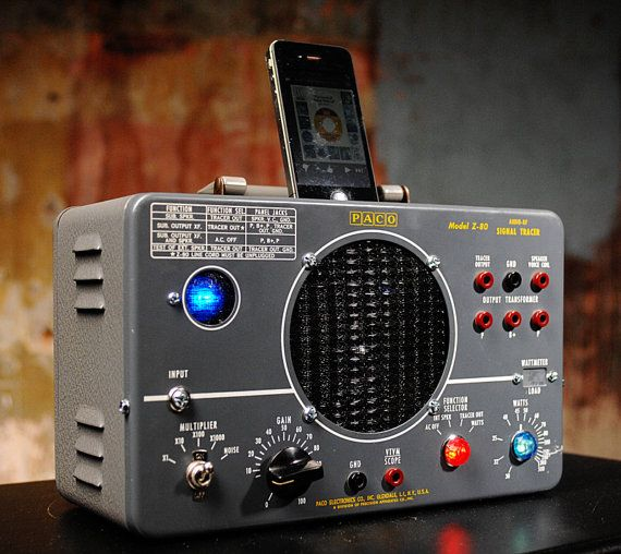 ipod iphone charging station with speaker from vintage test equipment