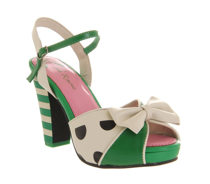 Lola Ramona Angie P Ankle Strap Green Polka Leather - Mid Heels