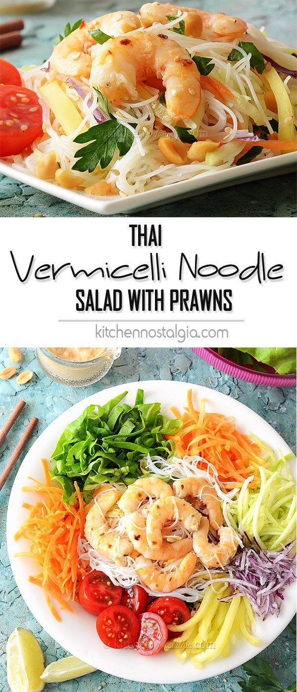 Thai Vermicelli Noodle Salad with Prawns and spicy creamy coconut milk / peanut butter dressing