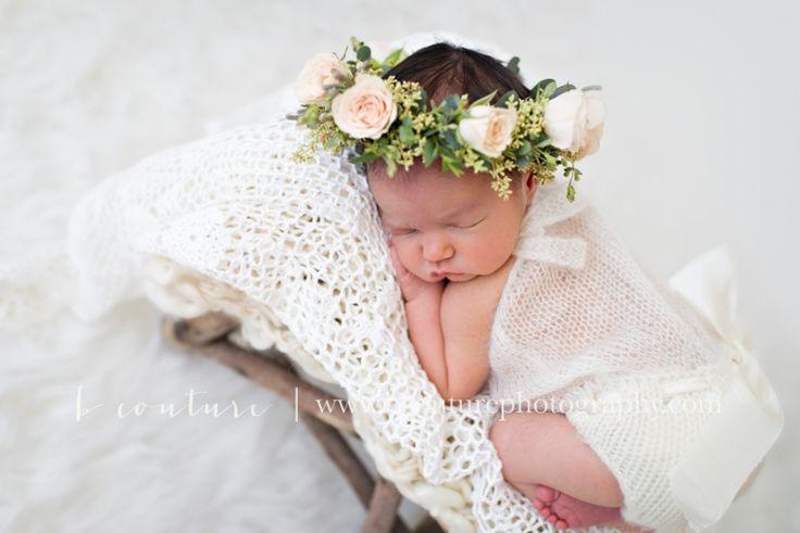 Newborn Floral Crown Natural Light Newborn Photographer B Couture Photography