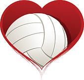 volleyball and net clipart | Heart with Volleyball Inside - royalty free clip art