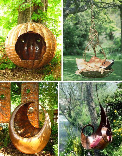 Fairy garden furnitureGardens Seats, Gardens Swings, Whimsical Gardens, Gardens Furniture, Magic Gardens, Gardens Chairs, Hanging Chairs, Fairies Garden, Outdoor Swings