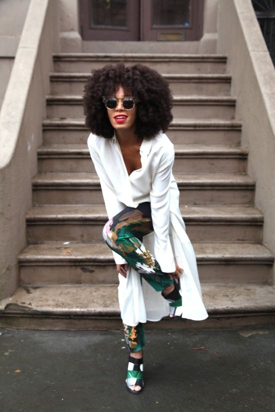 Solange. Statement Trousers with Bright White Top.