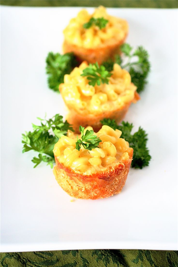 ♥   mini Mac n Cheese bites with ritz cracker crust.    (These came out little dry, so I wouldn't put them in oven too long).   (Even the recipe with only the garlic cheese spread alone is yummy).