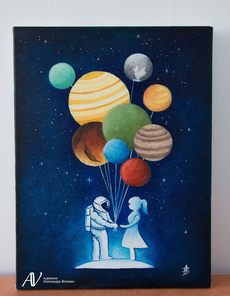 Buy painting, oil painting, space, astronaut and girl, art, painting Купить…