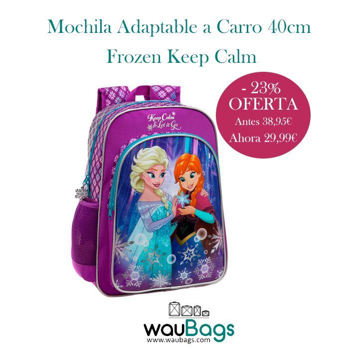 """¡¡Consigue ahora en waubags.com la Mochila Adaptable a Carro Disney """"Frozen Keep Calm"""" por tan solo 29,99€!! Con un compartimento principal con cierre de cremallera, un bolsillo delantero, un bolsillo lateral de rejilla donde podrás colocar una botella de agua pequeña y un asa en la parte superior.  @waubags #disney #frozen #mochila #escolar #oferta #descuento"""