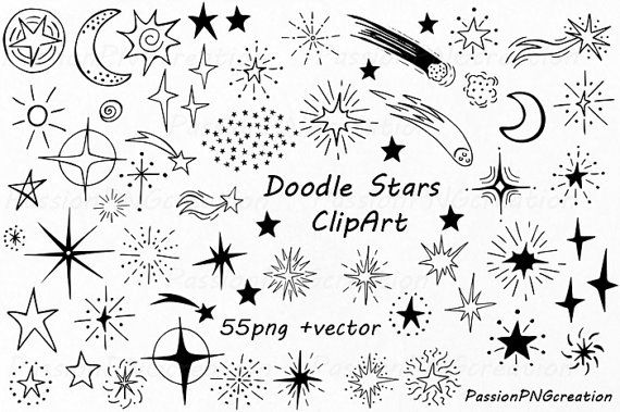 Doodle Stars Clipart, Hand Drawn stars, digital star clip art, PNG, EPS, AI, vector, Photoshop Overlays, For Personal and Commercial Use