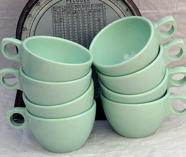 Prolon Florence Coffee Cups Aqua Pale Jadite Green Melmac Melamine Set Of 6 Six 1950s Mid Century Kitchen Dining Ware by SurrendrDorothy, via Flickr