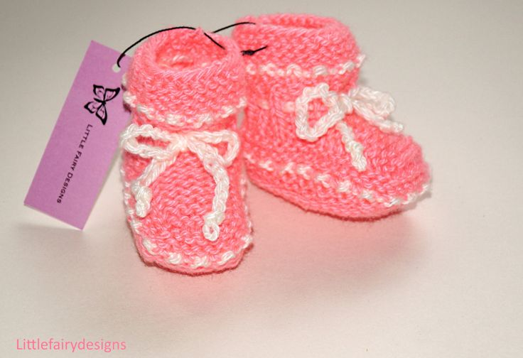 Knitted Baby Booties / Infant Boy/Girl Size 0 to 6 Months Light Pink For Babies by Littlefairydesigns on Etsy