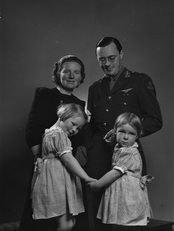 Princess Juliana and Prince Bernhard of the Netherlands with their daughters Princesses Beatrix and Irene