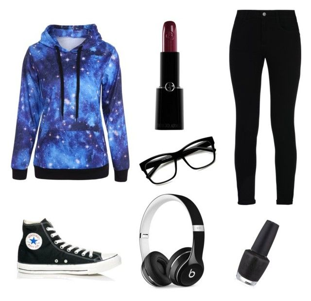 """Black galaxy"" by tina-80 on Polyvore featuring Converse, STELLA McCARTNEY, Beats by Dr. Dre, ZeroUV, OPI and Giorgio Armani"