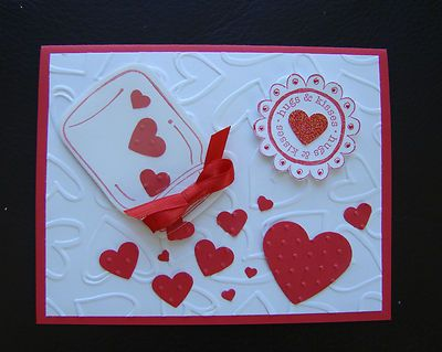 Stampin Up Handmade Valentine 4 Card Kit Sample Make 3 Mason Jar Hearts | eBay