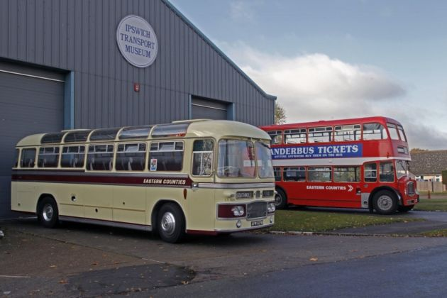Vintage buses from the Ipswich Transport Museum's collection - just some of the vehicles that will be on display for Suffolk Day. Picture: MICK WEBB